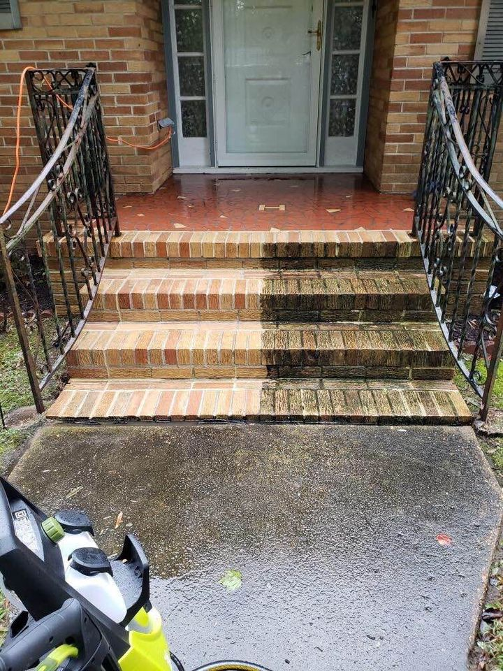 before after stair pressure wash